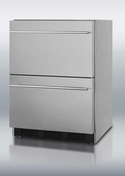 Summit Refrigeration SP6DS2D7 5.5-cu ft Undercounter Refrigerator w/ (1) Section & (2) Drawers, 115v
