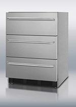 Summit Refrigeration SPF5DSSTBADA 4.72-cu ft Undercounter Freezer w/ (1) Section & (3) Drawers, 115v