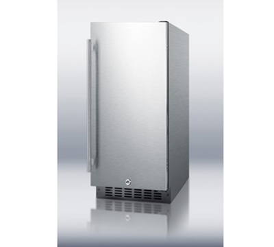 Summit Refrigeration SPR315OSCSS Outdoor Beverage Refrigerator w/ Auto Defrost, Glass Shelves & Lock, Stainless, 3.3-cu ft