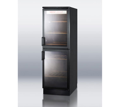 "Summit SWC1775 24"" Two Section Wine Cooler w/ (1) Zone - 120-Bottle Capacity, 115v"