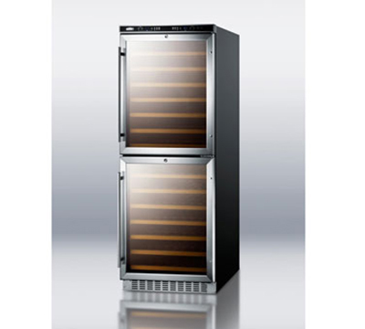 "Summit Refrigeration SWC1875 23.63"" Two Section Wine Cooler w/ (2) Zones - 180-Bottle Capacity, 115v"