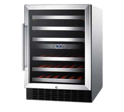"Summit Refrigeration SWC530LBISTCSSAD 23.63"" One Section Wine Cooler w/ (2) Zones - 36-Bottle Capacity, 115v"