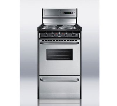 "Summit TEM130BKWY 20"" Range w/ Digital Clock, Double Pane Window, Porcelain Top & Oven, 220v, Black"