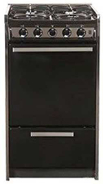 Summit Refrigeration TNM114RW 20-in Range w/ Electric Ignition, Door & Sealed Burners, Porcelain, Black/Stainless