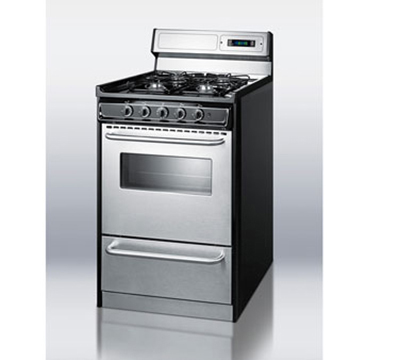 Summit TNM13027BFKWY 20-in Range w/ Electric Ignition, Towel Bar & Sealed Burners, Porcelain, Black/Stainless