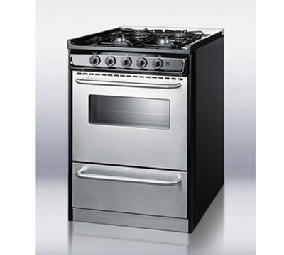 Summit TNM61027BFRWY NG 24-in Range w/ Electric Ignition, Sealed Burners & Boiler Door, Black, NG