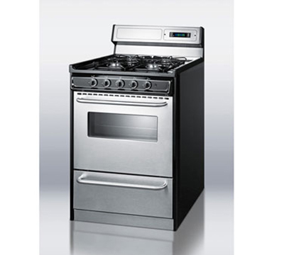 Summit Refrigeration TNM63027BFKWY 24-in Range w/ Clock Timer, Electric Ignition, Handles & Sealed Burners, Black