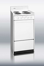 Summit Refrigeration WEM110 20-in Range w/ Removable Top, Broiler In Oven & 2-Racks, 220/1V, White