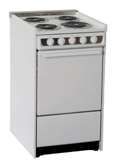 Summit WEM115R 20-in Range w/ Removable Top, Low Backguard & Broiler In Oven, 220/1V, White