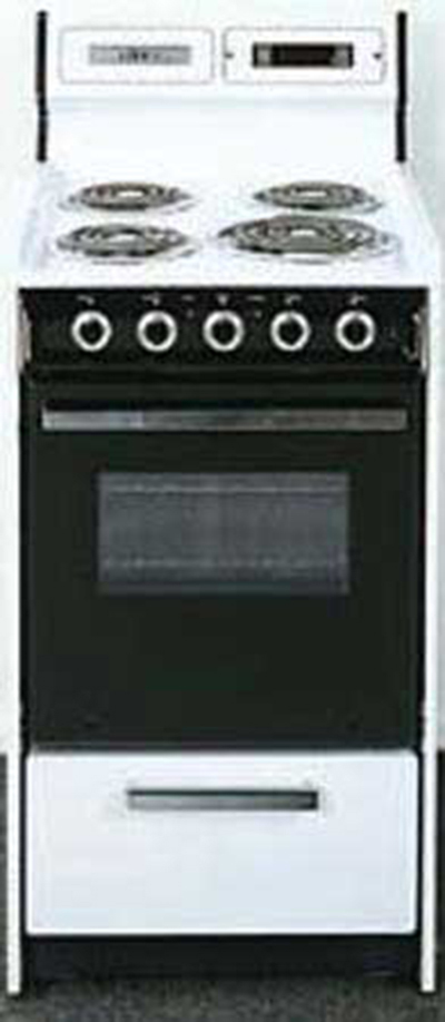 Summit Refrigeration WEM130DK 20-in Range w/ Removable Top, Digital Clock & Broiler In Oven, 220/1V, Black/White