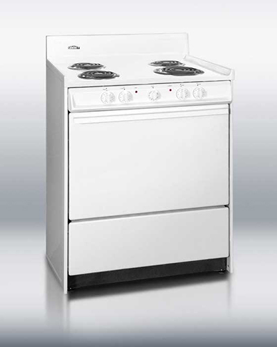 "Summit Refrigeration WEM210 30"" Range - Removable Top, 2-Racks, Low Backguard, White/Stainless"