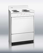 Summit Refrigeration WEM610 24-in Range w/ Removable Top, 2-Racks & Oven Storage, White