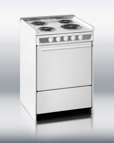 Summit Refrigeration WEM619R 24-in Range w/ Removable Top, Handle & Storage Under Oven, White