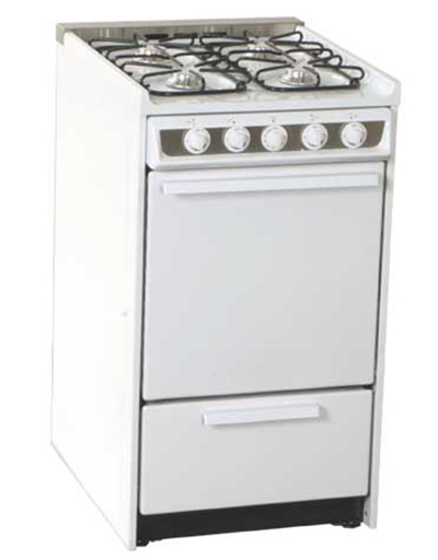 Summit WNM114R 20-in Range w/ Electronic Ignition, Sealed Burners & Removable Oven Door, White, 220/1V