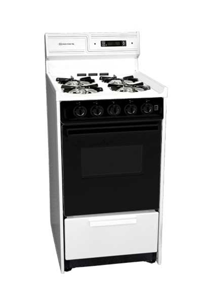 Summit WNM1307DFK 20-in Range w/ Electronic Ignition & Sealed Burners, 220/1V, White/Black