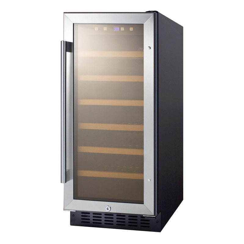 "Summit SWC1535B 14.75"" One Section Wine Cooler w/ (1) Zone - 33-Bottle Capacity, 115v"