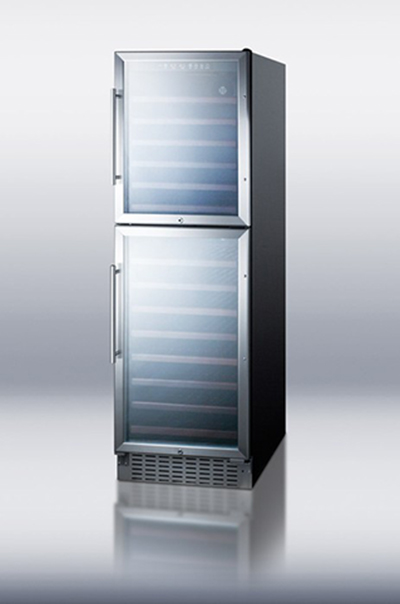"Summit SWC2149 24"" Two Section Wine Cooler w/ (2) Zones - 149-Bottle Capacity, 115v"