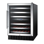 Summit SWC530LBIST Wine Cellar w/ 2-Zones, Reversible Locking Door & Auto Defrost, 115v, Black