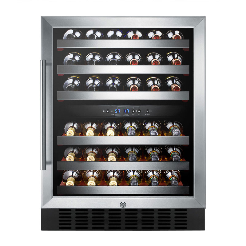 "Summit SWC530LBISTCSSAD 24"" One Section Wine Cooler w/ (2) Zones - 36-Bottle Capacity, 115v"