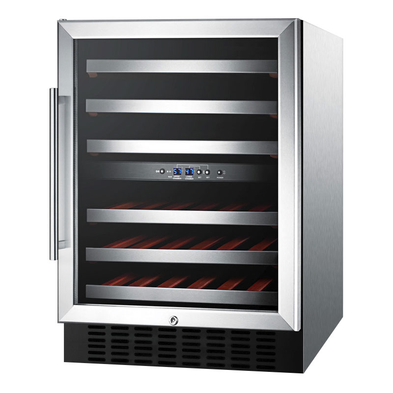 "Summit SWC530LBISTCSSAD 24"" One Section Wine Cooler w/ (2) Zones - 36-Bottle Capacity, 115v"