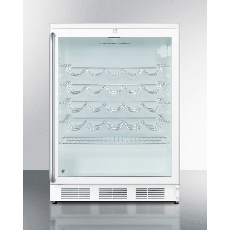 "Summit Refrigeration SWC6GWLSH 23.63"" One Section Wine Cooler w/ (1) Zone - 30-Bottle Capacity, 115v"