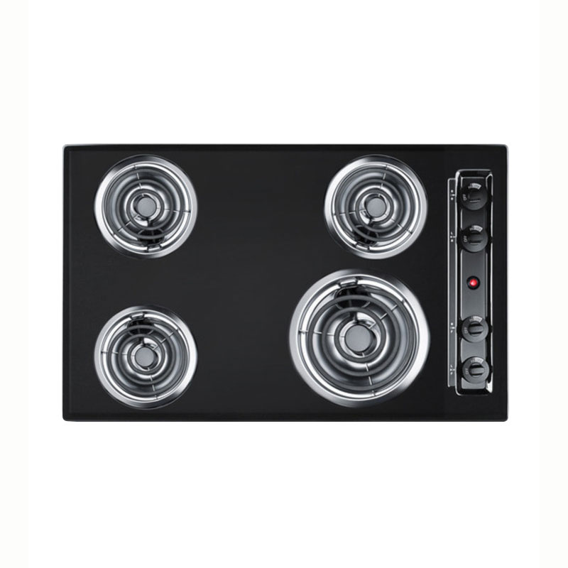 "Summit TEL05 30"" Cooktop w/ 8"" Element & (3) 6"" Coil Elements, Porcelain, 220v, Black"