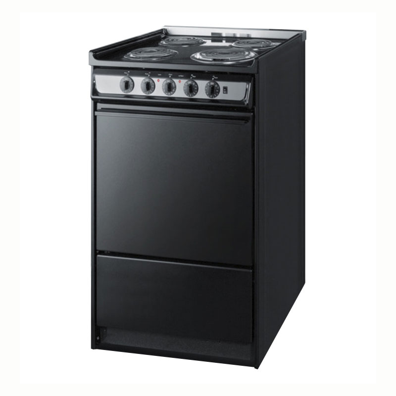 "Summit TEM115R 20"" Range w/ Removable, Under Oven Storage, Handle & Lift Up Top, Black"