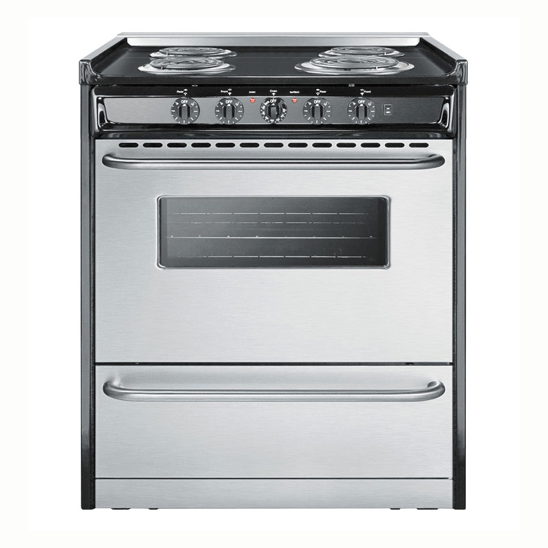 "Summit TEM210BRWY 30"" Slide-In Electric Range - 4-Element, Lower Storage, Black/Stainless, 220v"