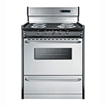 "Summit TEM230BKWY 30"" Range w/ Digital Clock, Double Pane Window, Porcelain Top & Oven, 220v, Black"