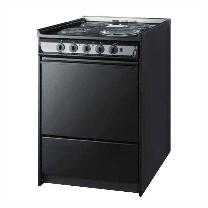 "Summit TEM619R 24"" Range w/ Removable Top, Handle & Storage Under Oven, Black"