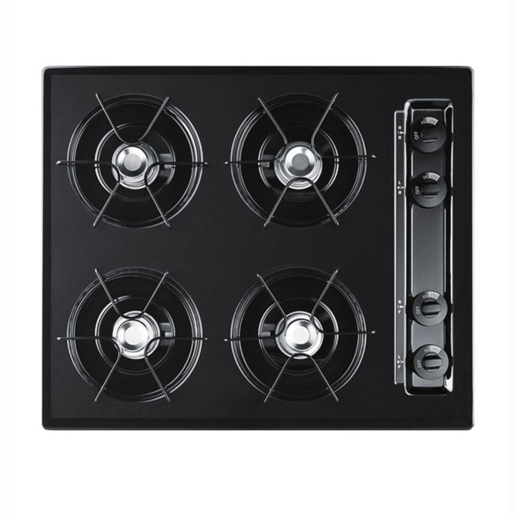 "Summit TNL033 24"" Gas 4-Burner Cooktop w/ Electronic Ignition, Black"