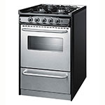 "Summit TNM11027BFRWY 20""n Range w/ Electric Ignition, Sealed Burners & Towel Bar, Black, NG"