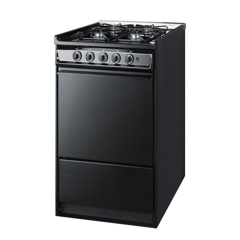 "Summit TNM114R 20"" Range w/ Electric Ignition & Sealed Burners, Porcelain, Black/Stainless"