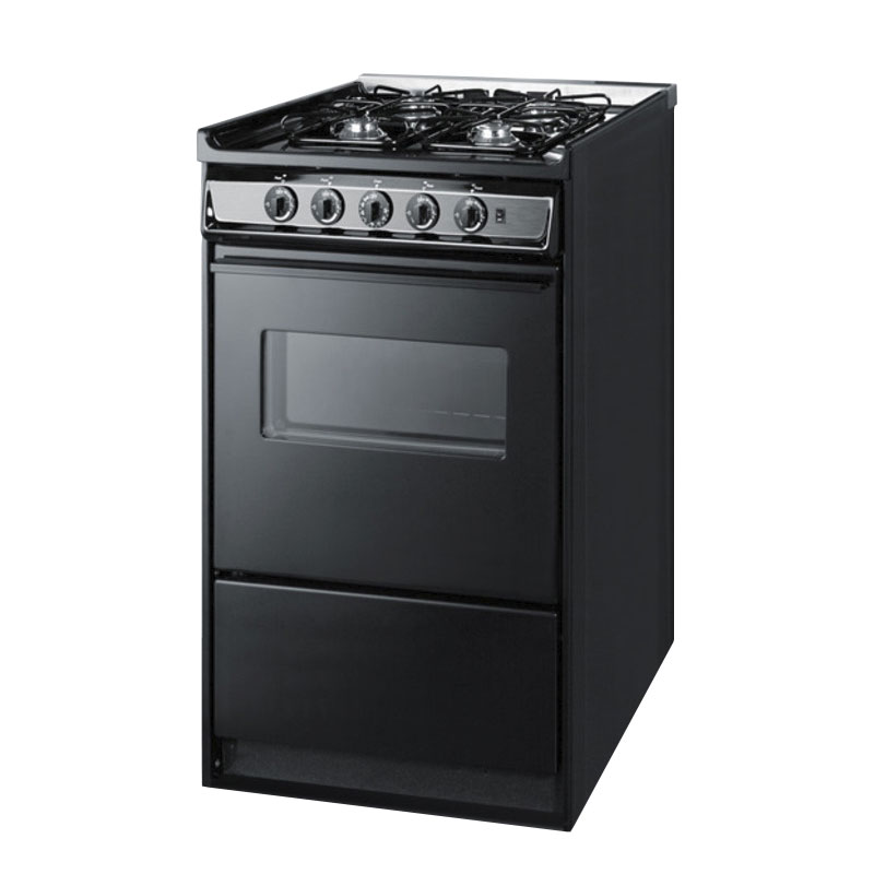 "Summit TNM114RW 20"" Range w/ Electric Ignition, Door & Sealed Burners, Porcelain, Black/Stainless"