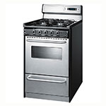 "Summit TNM13027BFKWY 20"" Range w/ Electric Ignition, Towel Bar & Sealed Burners, Porcelain, Black/Stainless"