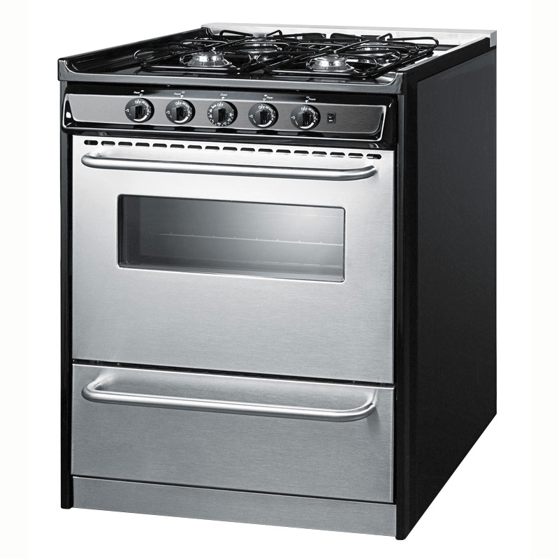 "Summit TNM21027BFRWY 30"" Slide-in Range - 4-Sealed Burners, Black/Stainless, NG"