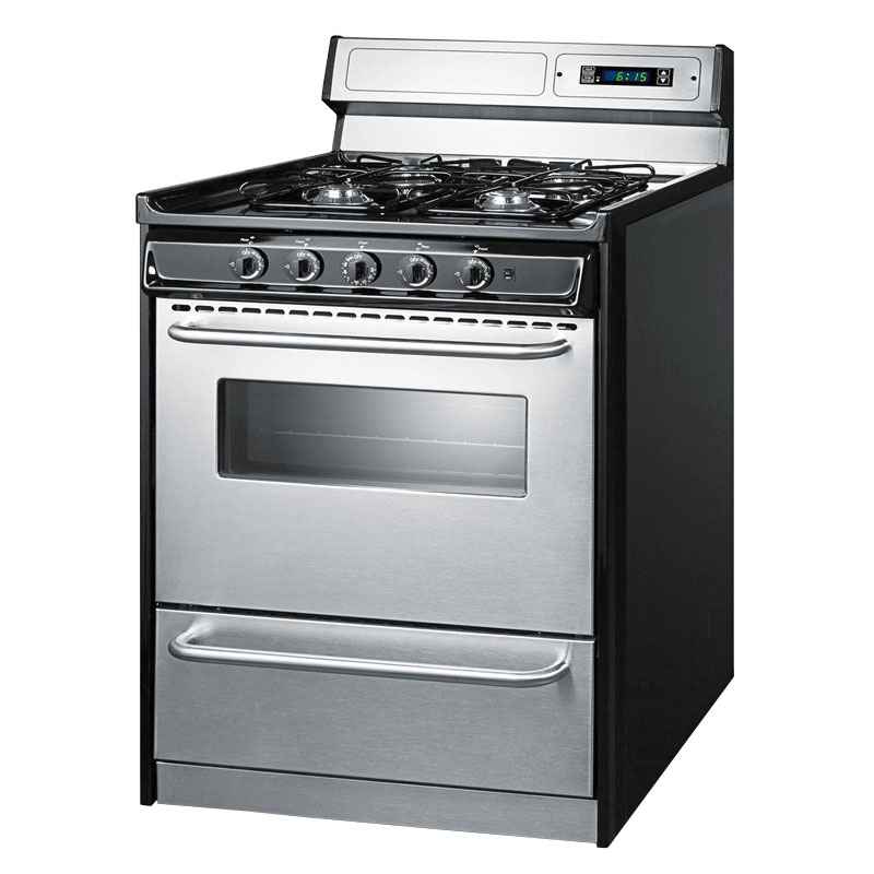 "Summit TNM23027BFKWY 30"" Range w/ Clock Timer, Electric Ignition, Towel Bar Handle & Sealed Burners, Black"