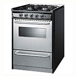 "Summit TNM61027BFRWY 24"" Slide-In Range - 4-Sealed Burners, Black/Stainless, NG"