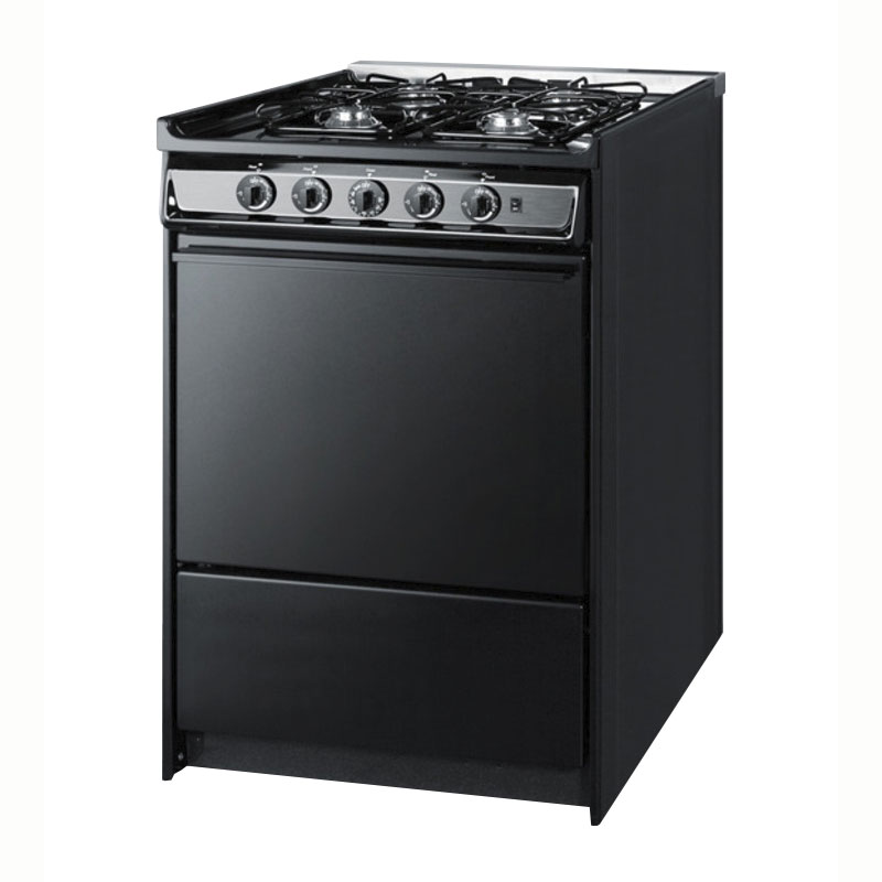 "Summit TNM616R 24"" Range w/ Electric Ignition, Sealed Burners, Handle & Boiler Tray, Black"