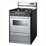 "Summit TNM63027BFKWY 24"" Range w/ Clock Timer, Electric Ignition, Handles & Sealed Burners, Black"
