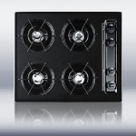 "Summit TTL03P 24"" Cooktop w/ 4-Burners, Battery Start Ignition & Recessed Top, Porcelain, Black"