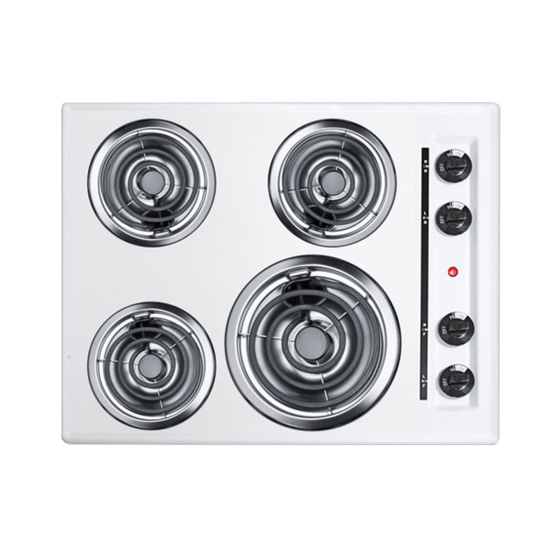"Summit WEL03 24"" Cooktop w/ (1) 8"" Coil Element & (3) 6"" Coil Elements, White"