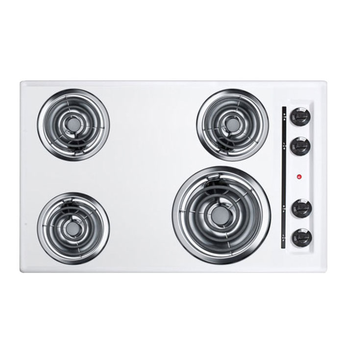 Summit Refrigeration WEL05 30-in Cooktop w/ (1)8-in & (3)6-in Coil Elements, 3.75x30x20-in, 220/1V, White