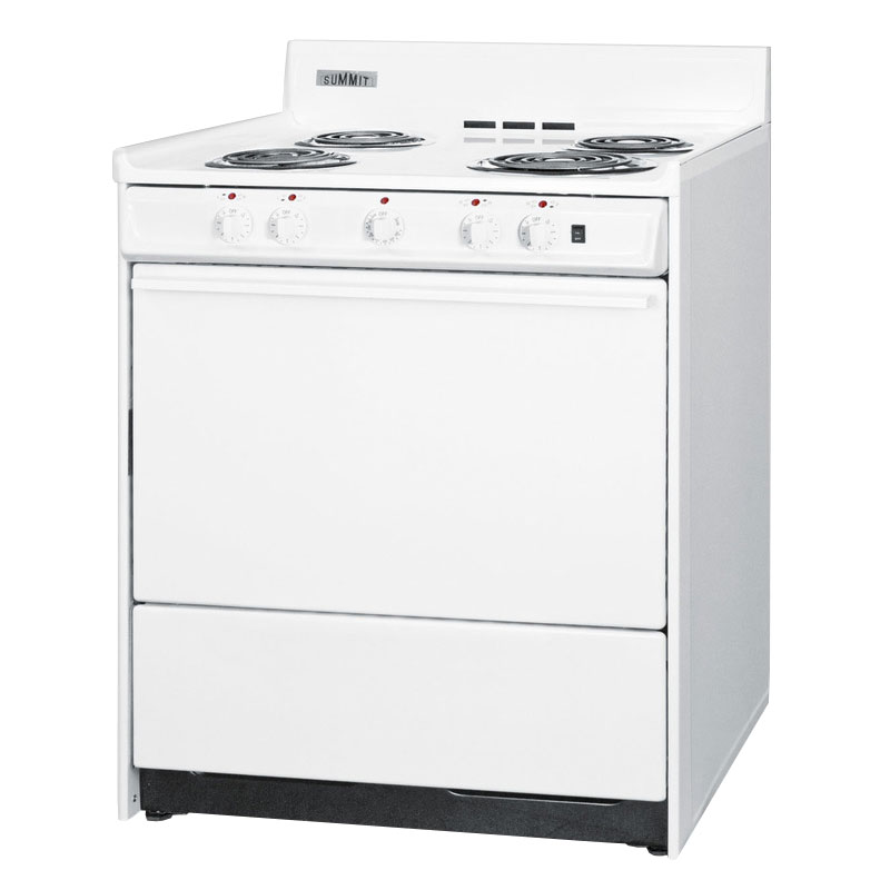 "Summit WEM2171Q 30"" Range w/ Removable Top, 5-Indicator Lights & Oven Storage, White"