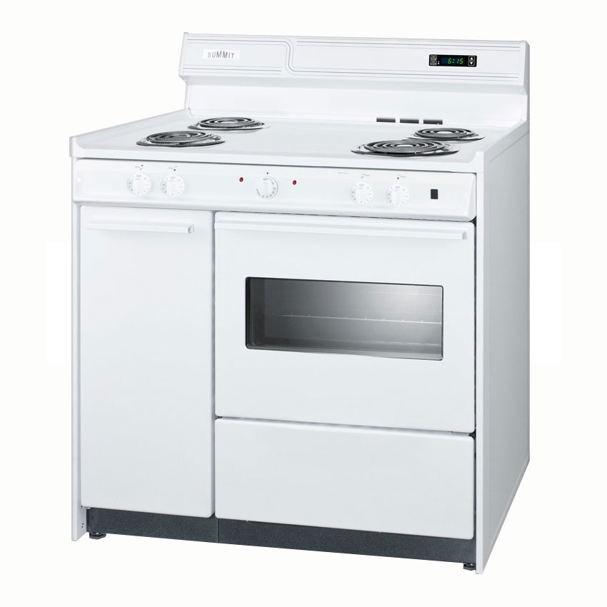 Summit WEM430KW 36-in Deluxe Range w/ Clock, Timer & Oven Light, 44x36x24-in, White, 2.92-cu ft