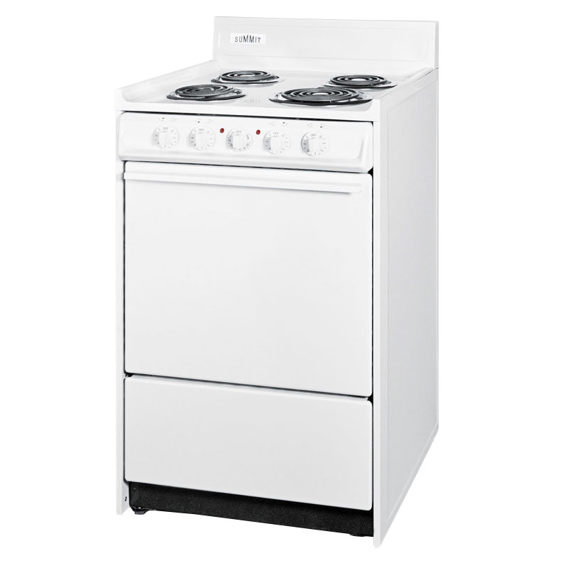 "Summit WEM610 24"" Electric Range w/ Removable Top, 2-Racks & Oven Storage, White"