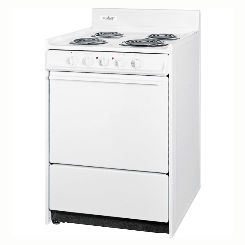 "Summit WEM611 24"" Electric Range w/ Removable Top, 1-Racks & Broiler In Oven, White"