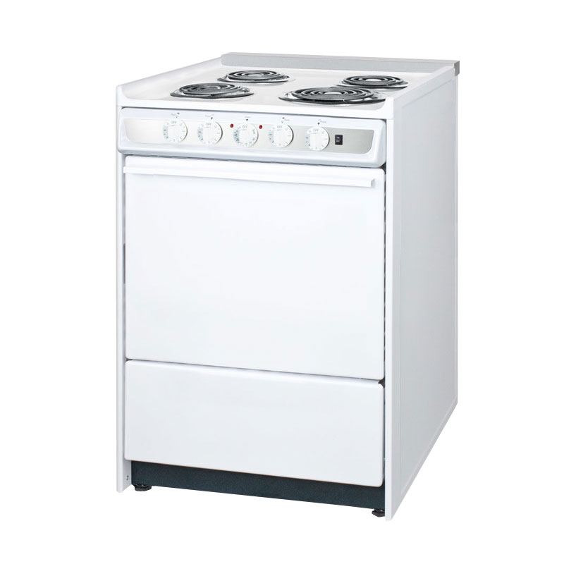"Summit WEM619R 24"" Electric Range w/ Removable Top, White"