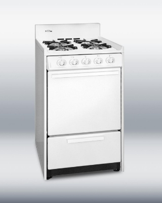 Summit Refrigeration WNM1107F NG 20-in Range w/ Electronic Ignition, Sealed Burners & 2-Oven Racks, White, 2.5-cu ft, NG