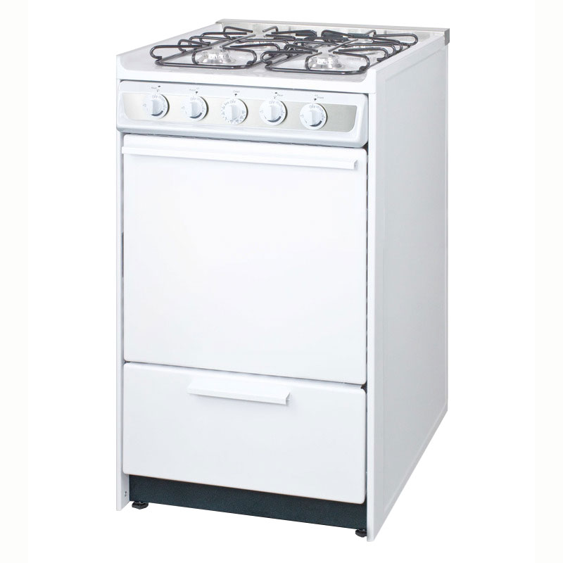 "Summit WNM114R 20"" Gas Range w/ Electronic Ignition, White, 220v"